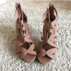 Brown platform cutout sandals